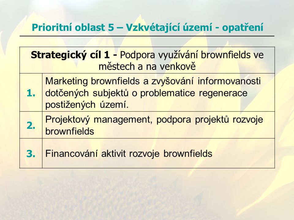 Strategický cíl 1 - Podpora využívání brownfields ve městech a na venkově 1. Marketing brownfields a zvyšování informovanosti dotčených subjektů o pro