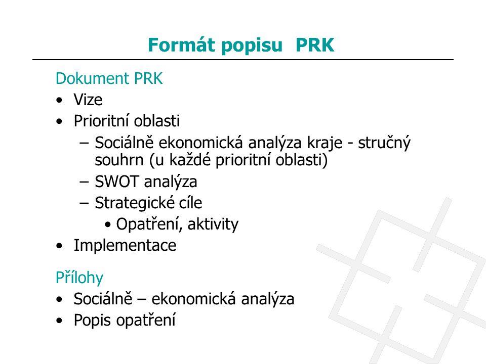 Formát popisu PRK Dokument PRK Vize Prioritní oblasti –Sociálně ekonomická analýza kraje - stručný souhrn (u každé prioritní oblasti) –SWOT analýza –S