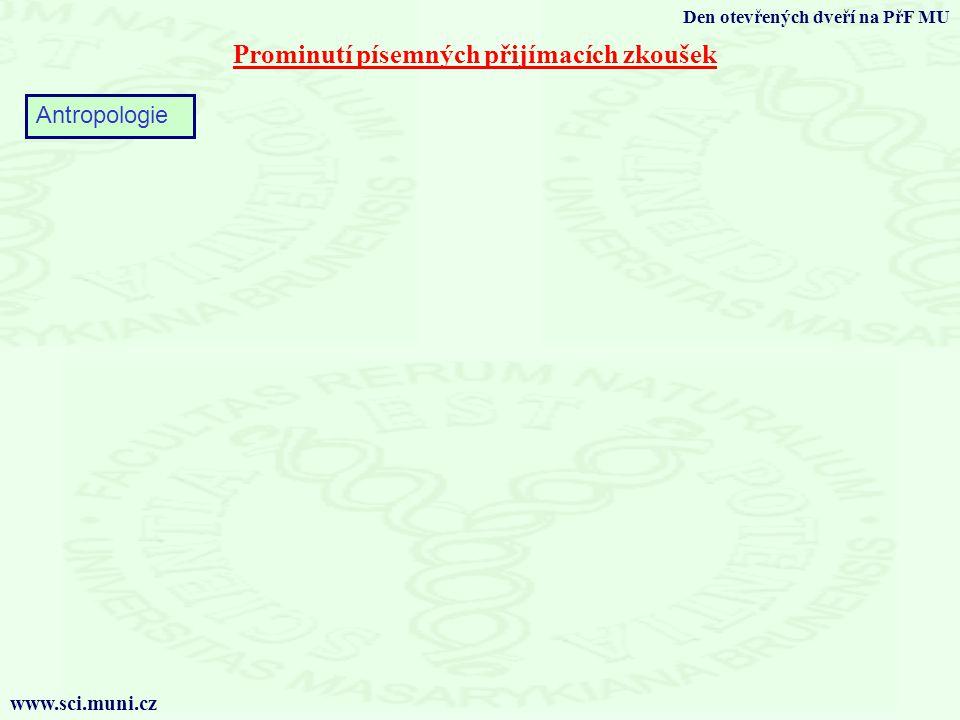 Prominutí písemných přijímacích zkoušek Den otevřených dveří na PřF MU www.sci.muni.cz Antropologie