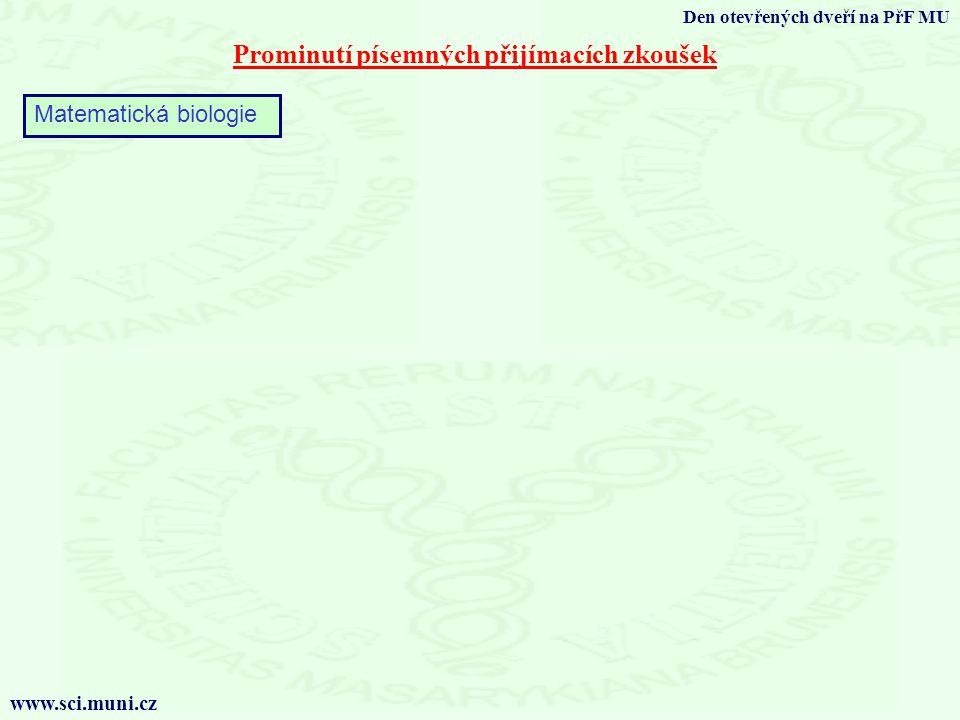 Prominutí písemných přijímacích zkoušek Den otevřených dveří na PřF MU www.sci.muni.cz Matematická biologie