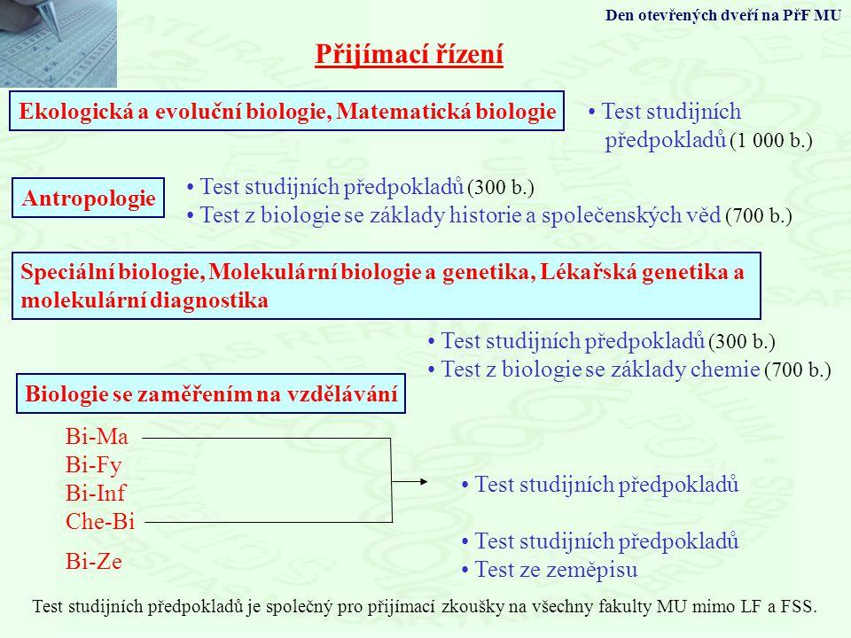 Přijímací řízení Ekologická a evoluční biologie, Matematická biologie Biologie se zaměřením na vzdělávání Test studijních předpokladů (1 000 b.) Bi-Ma Bi-Fy Bi-Inf Che-Bi Test studijních předpokladů Bi-Ze Test studijních předpokladů Test ze zeměpisu Test studijních předpokladů je společný pro přijímací zkoušky na všechny fakulty MU mimo LF a FSS.