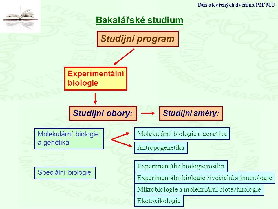 Studijní program Studijní obory: Bakalářské studium Den otevřených dveří na PřF MU Experimentální biologie Molekulární biologie a genetika Speciální b
