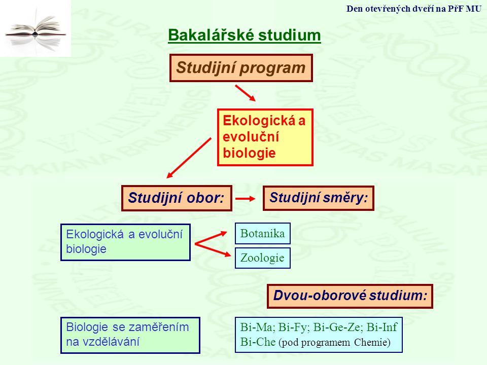 Studijní program Studijní obor: Bakalářské studium Den otevřených dveří na PřF MU Ekologická a evoluční biologie Biologie se zaměřením na vzdělávání S