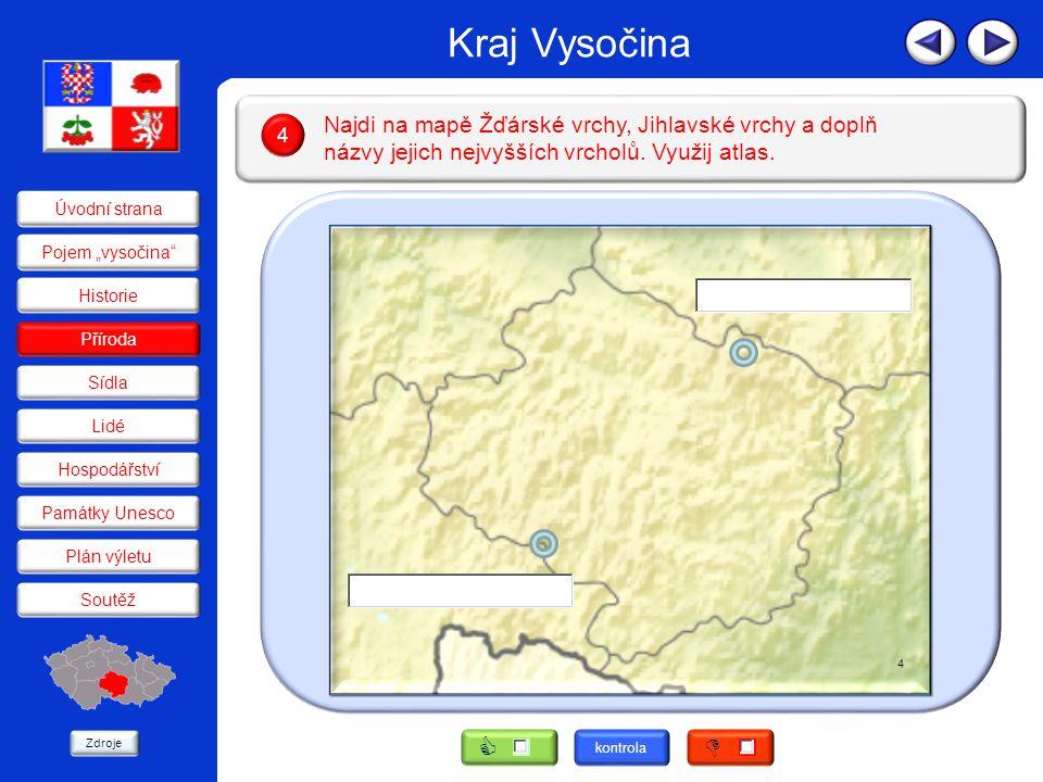 Kraj Vysočina Podle textu urči, o kterou řeku pramenící v kraji jde, a označ číslem podle mapy.