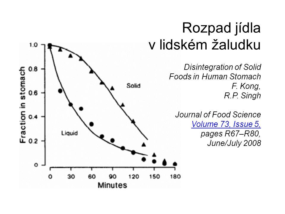 Rozpad jídla v lidském žaludku Disintegration of Solid Foods in Human Stomach F. Kong, R.P. Singh Journal of Food Science Volume 73, Issue 5, pages R6