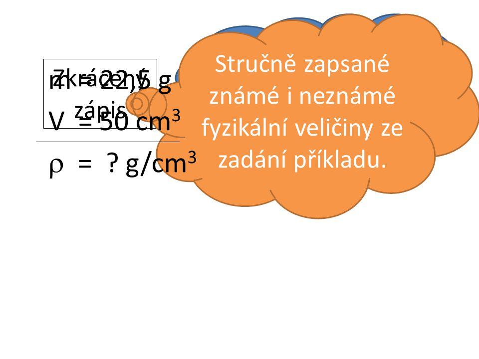 Zkrácený zápis Co to je? Stručně zapsané známé i neznámé fyzikální veličiny ze zadání příkladu.  = ? g/cm 3 m = 22,5 g V = 50 cm 3