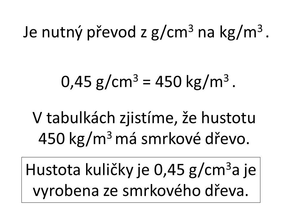0,45 g/cm 3 = 450 kg/m 3. V tabulkách zjistíme, že hustotu 450 kg/m 3 má smrkové dřevo. Hustota kuličky je 0,45 g/cm 3 a je vyrobena ze smrkového dřev