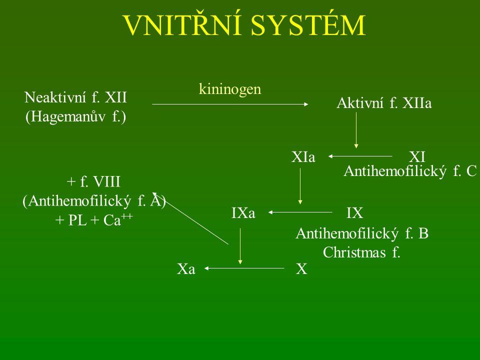VNITŘNÍ SYSTÉM Neaktivní f. XII (Hagemanův f.) Aktivní f. XIIa kininogen XIXIa Antihemofilický f. C IXIXa Antihemofilický f. B Christmas f. XXa + f. V
