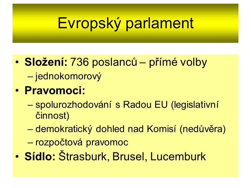 Evropský parlament Složení: 736 poslanců – přímé volby –jednokomorový Pravomoci: –spolurozhodování s Radou EU (legislativní činnost) –demokratický dohled nad Komisí (nedůvěra) –rozpočtová pravomoc Sídlo: Štrasburk, Brusel, Lucemburk