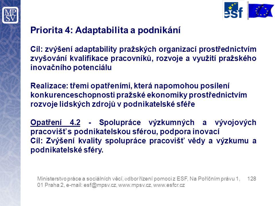 Priorita 4: Adaptabilita a podnikání Cíl: zvýšení adaptability pražských organizací prostřednictvím zvyšování kvalifikace pracovníků, rozvoje a využití pražského inovačního potenciálu Realizace: třemi opatřeními, která napomohou posílení konkurenceschopnosti pražské ekonomiky prostřednictvím rozvoje lidských zdrojů v podnikatelské sféře Opatření 4.2 - Spolupráce výzkumných a vývojových pracovišť s podnikatelskou sférou, podpora inovací Cíl: Zvýšení kvality spolupráce pracovišť vědy a výzkumu a podnikatelské sféry.
