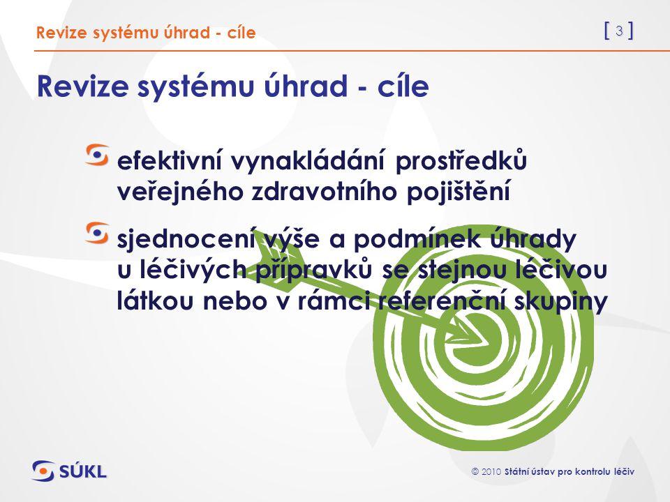 [ 3 ] © 2010 Státní ústav pro kontrolu léčiv Revize systému úhrad - cíle efektivní vynakládání prostředků veřejného zdravotního pojištění sjednocení v