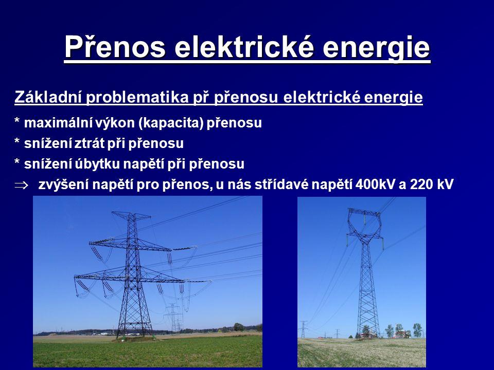 Přenos elektrické energie Základní problematika př přenosu elektrické energie *maximální výkon (kapacita) přenosu *snížení ztrát při přenosu *snížení