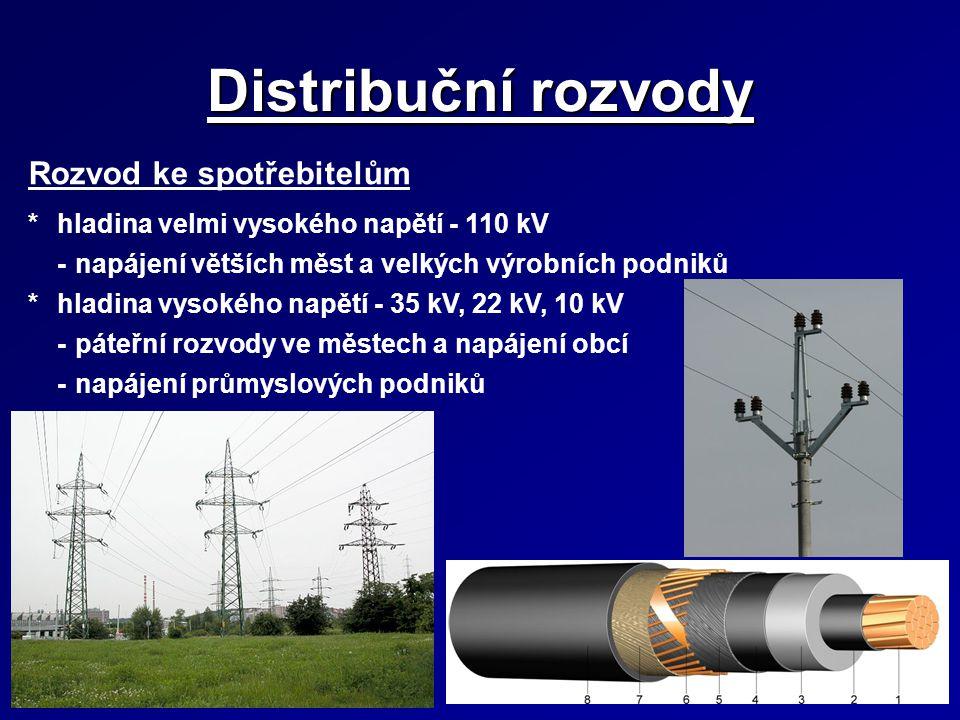 Distribuční rozvody Rozvod ke spotřebitelům *hladina velmi vysokého napětí - 110 kV -napájení větších měst a velkých výrobních podniků *hladina vysoké