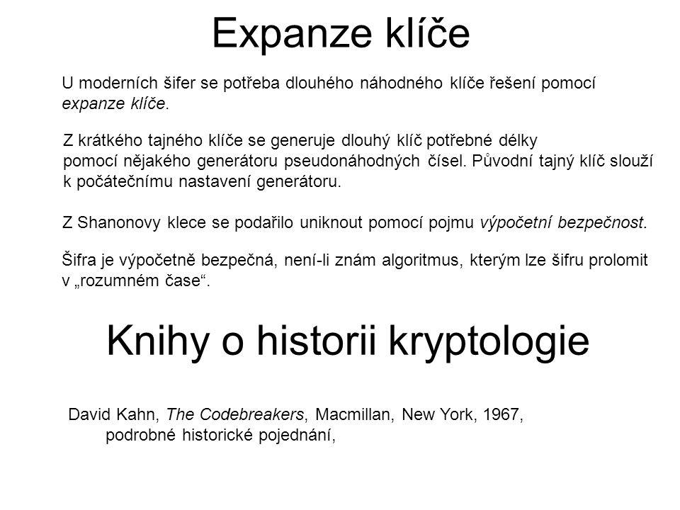 Expanze klíče U moderních šifer se potřeba dlouhého náhodného klíče řešení pomocí expanze klíče.