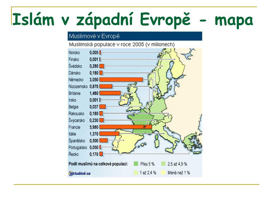 Islám v západní Evropě - mapa