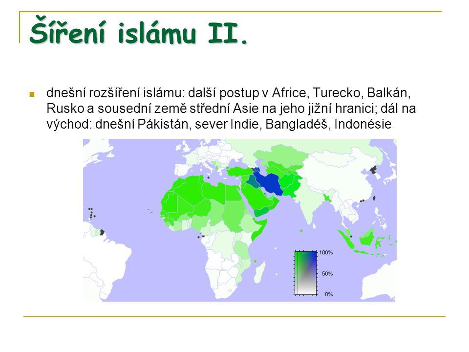 Dva hlavní směry v islámu islám těsně propojen se státem, nejvyšší představitel chalífa spíše světský vládce většina mínění, že chalífa má být volen, sunnité, dnes asi 80 – 85% muslimů menšina: chalífa (imám) má být z Muhammadovy rodiny, strana Álího (arabsky ší´a Álí), Muhammadova synovce, odtud výraz ší´ité, 15 – 20% muslimů, prakticky 100% Írán, mírně přes polovinu Irák (nynější spor)