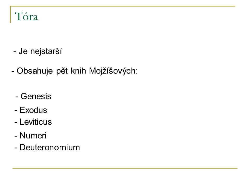Tóra - Je nejstarší - Obsahuje pět knih Mojžíšových: - Genesis - Exodus - Leviticus - Numeri - Deuteronomium