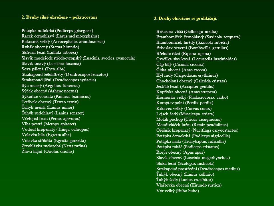 Legislativní ochrana ptáků ČR 1. Druhy kriticky ohrožené: Břehouš černoocasý (Limosa limosa) Bukač velký (Botaurus stellaris) Bukáček malý (Ixobrychus