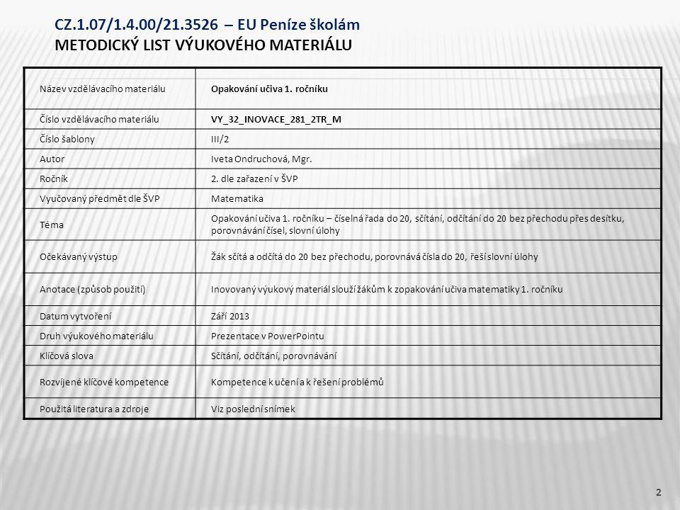 Název vzdělávacího materiáluOpakování učiva 1. ročníku Číslo vzdělávacího materiáluVY_32_INOVACE_281_2TR_M Číslo šablonyIII/2 AutorIveta Ondruchová, M
