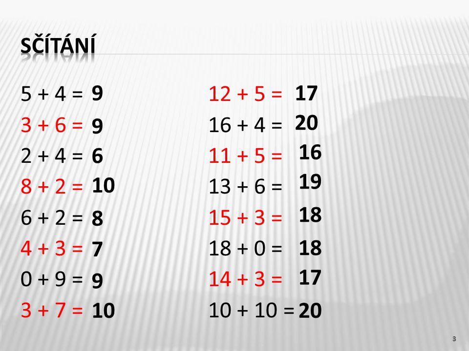 5 - 4 = 12 - 2 = 6 - 3 = 16 - 4 = 9 - 2 = 19 - 5 = 8 - 5 = 18 - 6 = 7 - 2 = 15 - 4 = 9 - 0 = 17 - 10 = 8 - 7 = 20 - 3 = 10 - 8 = 14 - 0 = 4 1 9 5 3 1 7 3 2 11 7 17 14 12 10 14 12