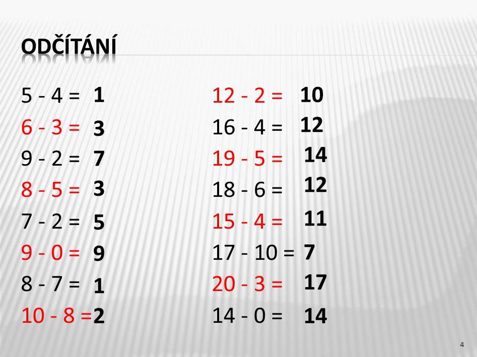 5 - 4 = 12 - 2 = 6 - 3 = 16 - 4 = 9 - 2 = 19 - 5 = 8 - 5 = 18 - 6 = 7 - 2 = 15 - 4 = 9 - 0 = 17 - 10 = 8 - 7 = 20 - 3 = 10 - 8 = 14 - 0 = 4 1 9 5 3 1