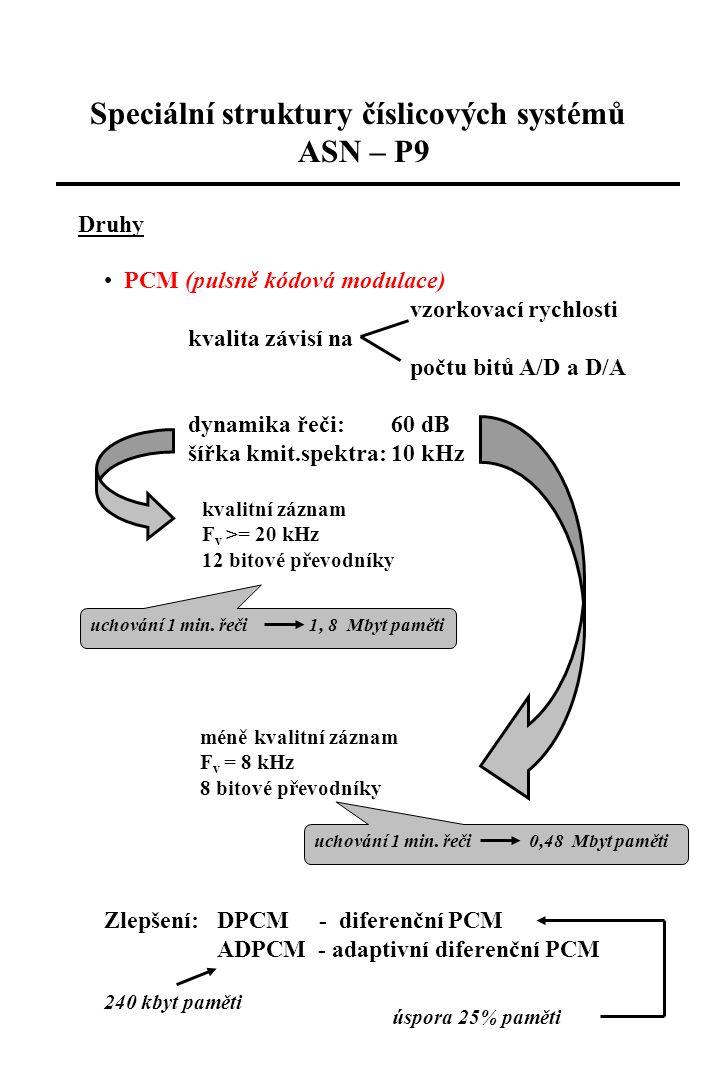Speciální struktury číslicových systémů ASN – P9 Syntéza řeči v kmitočtové oblasti matematický model kmitočtového spektra analýza řečového signálu parametry buzení lze měnit prozodii druhy: 1) formantová syntéza - sériové (paralelní) spojení rezonančních (antirezonančních) obvodů 2 000 bitů/sec (15 kbit/min) dobrá kvalita, technicky náročné 2) konkatenační syntéza LPC - 10-30 ms, řád filtrů 8-12 neomezený slovník LP-PSOLA - parametrický model LP + PSOLA kepstrální 3) artikulační syntéza – modelování produkce řeči