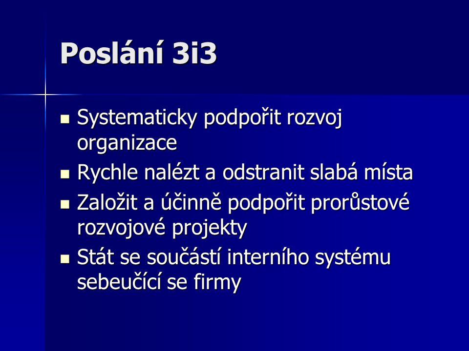 Poslání 3i3 Systematicky podpořit rozvoj organizace Systematicky podpořit rozvoj organizace Rychle nalézt a odstranit slabá místa Rychle nalézt a odst