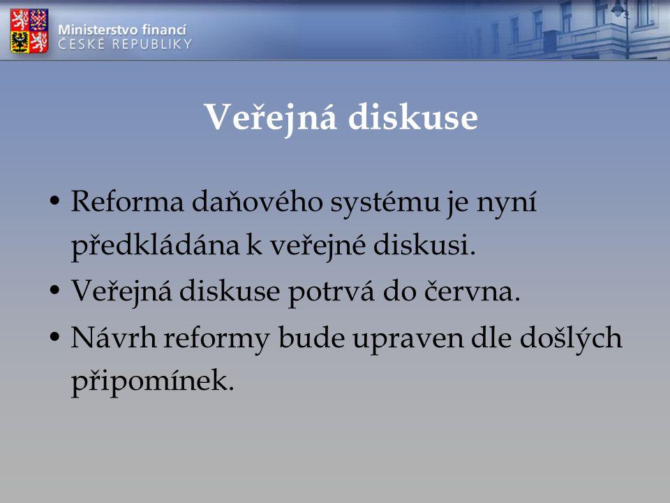Veřejná diskuse Reforma daňového systému je nyní předkládána k veřejné diskusi.