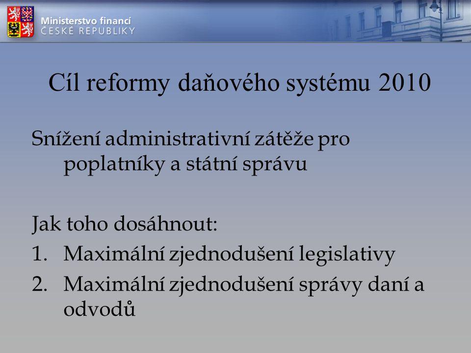 Cíl reformy daňového systému 2010 Snížení administrativní zátěže pro poplatníky a státní správu Jak toho dosáhnout: 1.Maximální zjednodušení legislativy 2.Maximální zjednodušení správy daní a odvodů