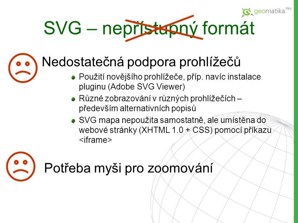 SVG – nepřístupný formát Nedostatečná podpora prohlížečů Použití novějšího prohlížeče, příp. navíc instalace pluginu (Adobe SVG Viewer) Různé zobrazov