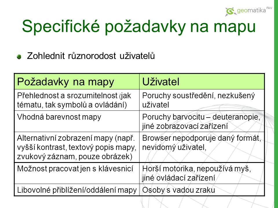 Specifické požadavky na mapu Zohlednit různorodost uživatelů Požadavky na mapyUživatel Přehlednost a srozumitelnost ( jak tématu, tak symbolů a ovládá