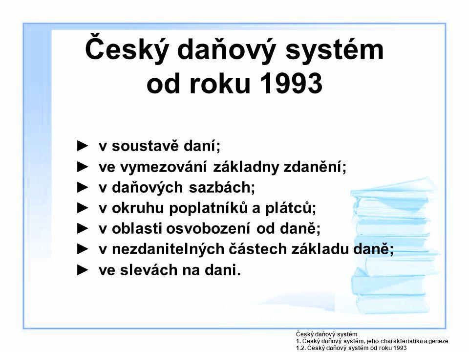Český daňový systém od roku 1993 ►v soustavě daní; ►ve vymezování základny zdanění; ►v daňových sazbách; ►v okruhu poplatníků a plátců; ►v oblasti osv