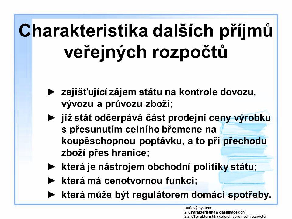 Charakteristika dalších příjmů veřejných rozpočtů ►zajišťující zájem státu na kontrole dovozu, vývozu a průvozu zboží; ►jíž stát odčerpává část prodej