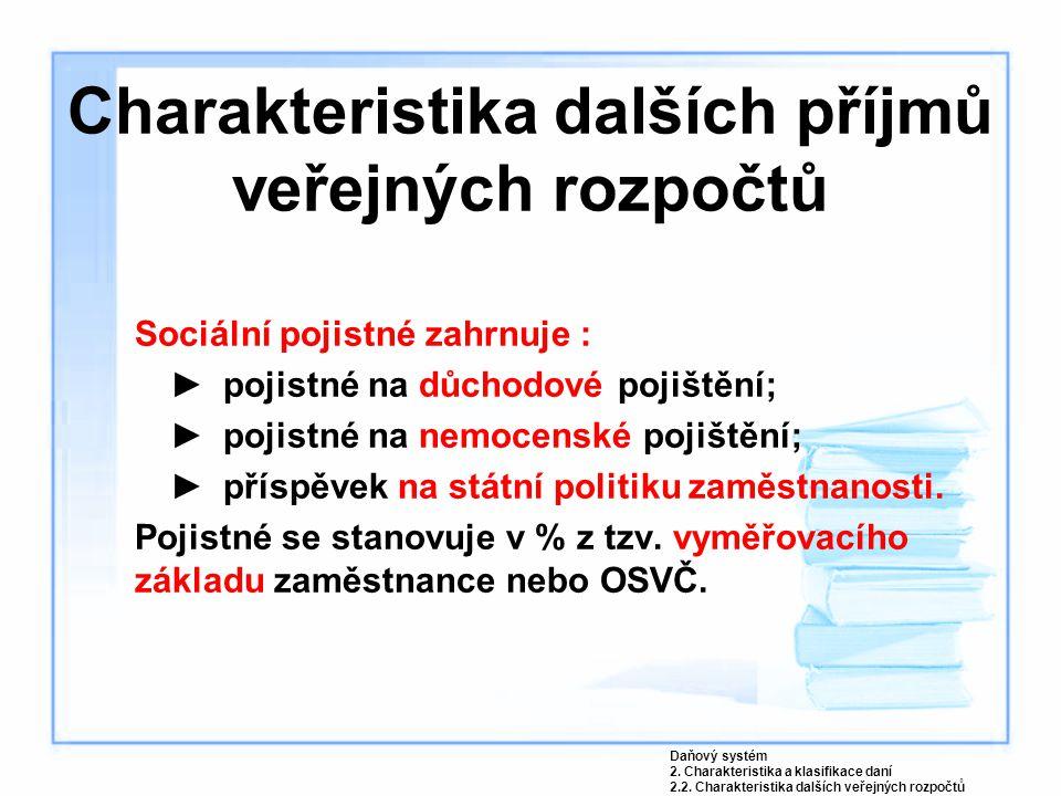Charakteristika dalších příjmů veřejných rozpočtů Sociální pojistné zahrnuje : ►pojistné na důchodové pojištění; ►pojistné na nemocenské pojištění; ►p