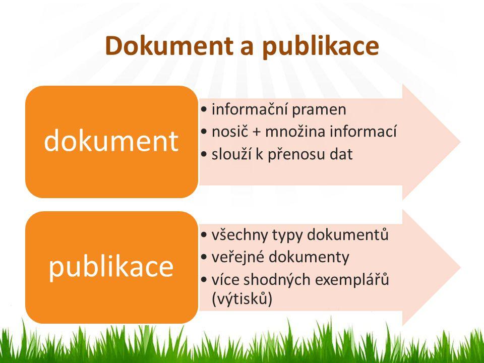 Dokument a publikace informační pramen nosič + množina informací slouží k přenosu dat dokument všechny typy dokumentů veřejné dokumenty více shodných exemplářů (výtisků) publikace