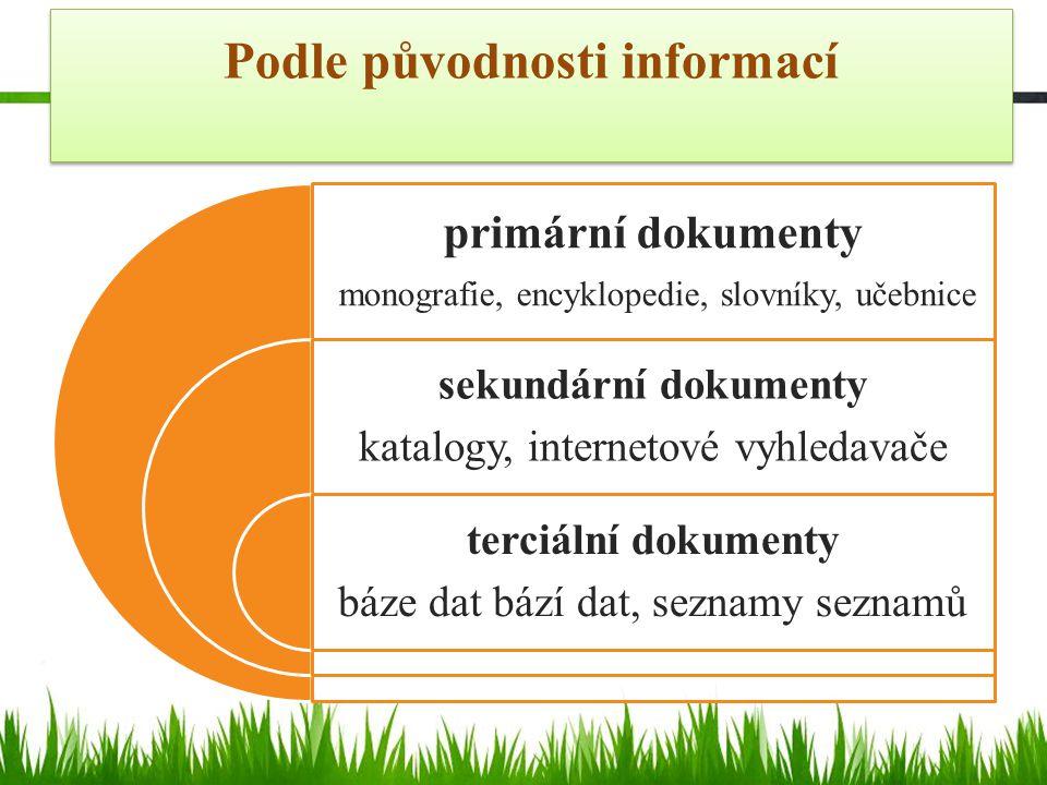 Podle původnosti informací primární dokumenty monografie, encyklopedie, slovníky, učebnice sekundární dokumenty katalogy, internetové vyhledavače terciální dokumenty báze dat bází dat, seznamy seznamů