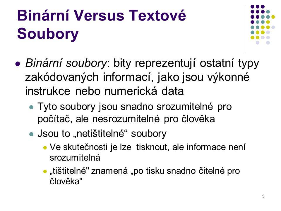10 Java: Textové Versus Binární Soubory Textové soubory jsou srozumitelné Binární soubory jsou více účinné Pro počítače jsou binární soubory snadněji zpracovatelné Binární soubory v Javě jsou přenositelné Mohou být využity na různých počítačích Čtení i zápis binárních souborů je normálně prováděn programem Textové soubory jsou používány pouze pro komunikaci s člověkem