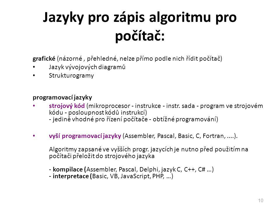 Jazyky pro zápis algoritmu pro počítač: grafické (názorné, přehledné, nelze přímo podle nich řídit počítač) Jazyk vývojových diagramů Strukturogramy programovací jazyky strojový kód (mikroprocesor - instrukce - instr.