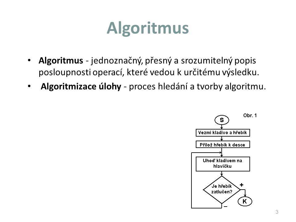 Algoritmus Algoritmus - jednoznačný, přesný a srozumitelný popis posloupnosti operací, které vedou k určitému výsledku.