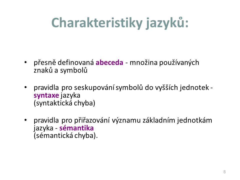 Charakteristiky jazyků: přesně definovaná abeceda - množina používaných znaků a symbolů pravidla pro seskupování symbolů do vyšších jednotek - syntaxe jazyka (syntaktická chyba) pravidla pro přiřazování významu základním jednotkám jazyka - sémantika (sémantická chyba).