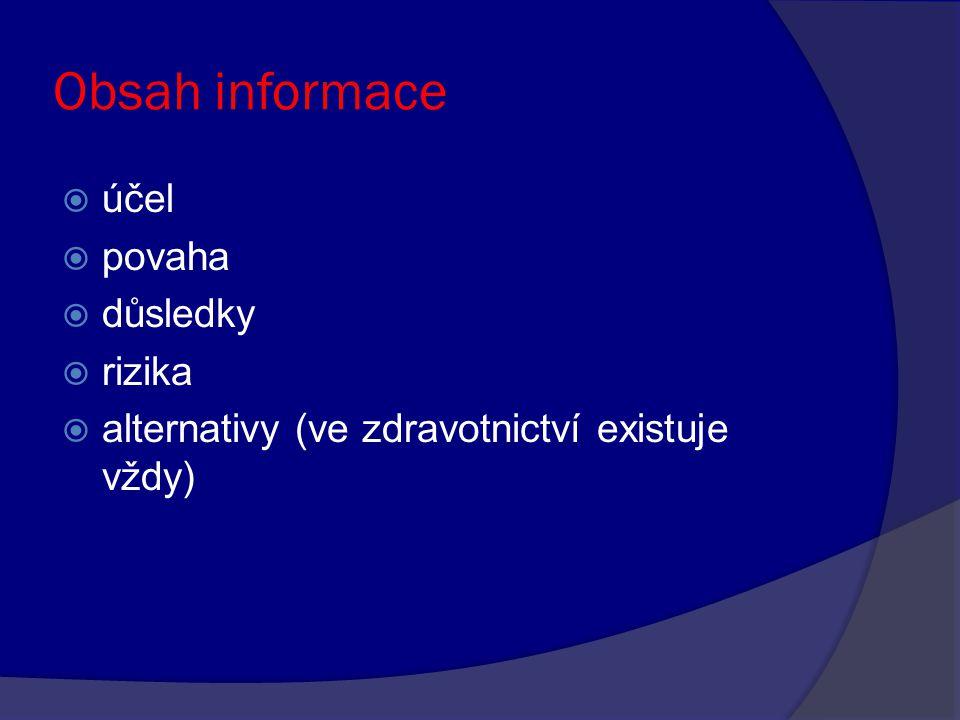 Obsah informace  účel  povaha  důsledky  rizika  alternativy (ve zdravotnictví existuje vždy)