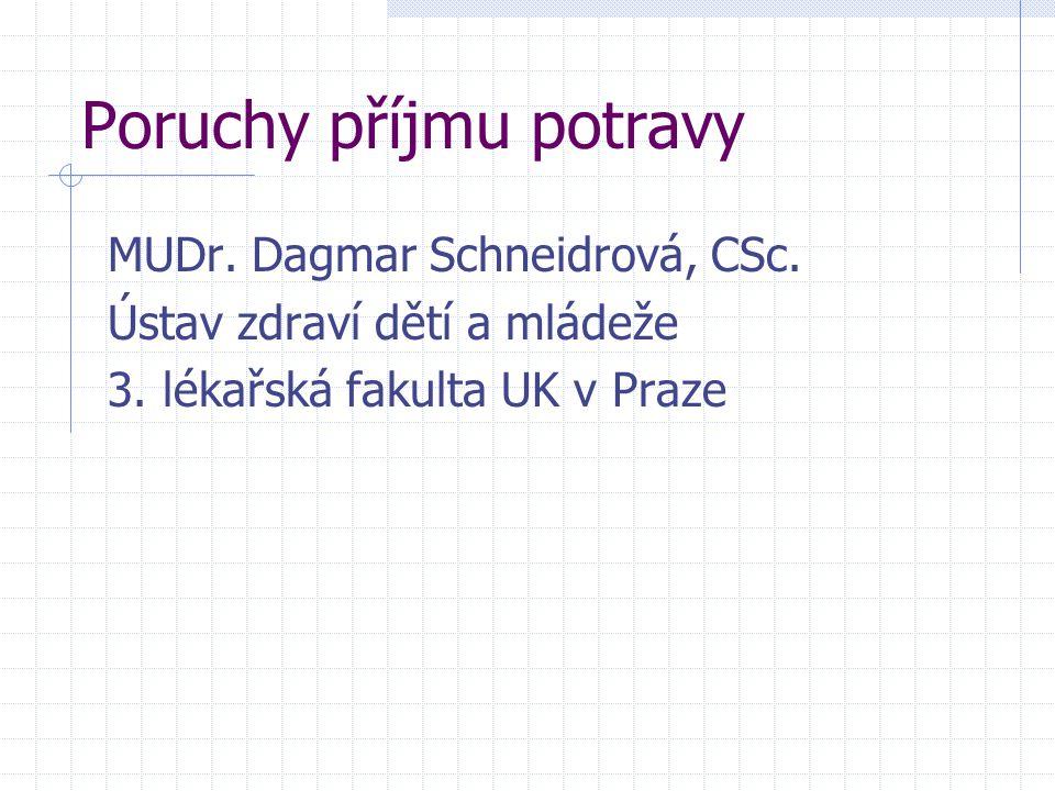 Poruchy příjmu potravy MUDr. Dagmar Schneidrová, CSc. Ústav zdraví dětí a mládeže 3. lékařská fakulta UK v Praze