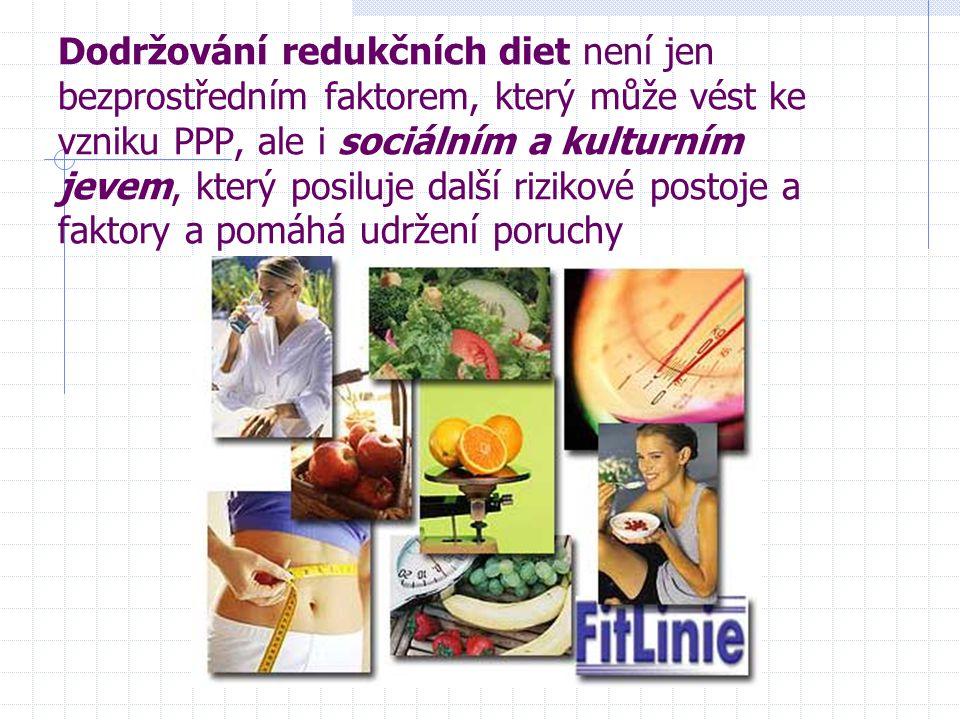 Dodržování redukčních diet není jen bezprostředním faktorem, který může vést ke vzniku PPP, ale i sociálním a kulturním jevem, který posiluje další ri