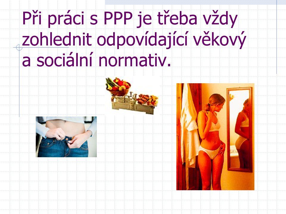 Při práci s PPP je třeba vždy zohlednit odpovídající věkový a sociální normativ.