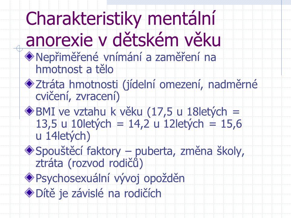 Charakteristiky mentální anorexie v dětském věku Nepřiměřené vnímání a zaměření na hmotnost a tělo Ztráta hmotnosti (jídelní omezení, nadměrné cvičení