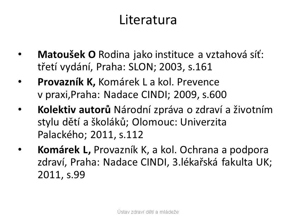 Literatura Matoušek O Rodina jako instituce a vztahová síť: třetí vydání, Praha: SLON; 2003, s.161 Provazník K, Komárek L a kol.