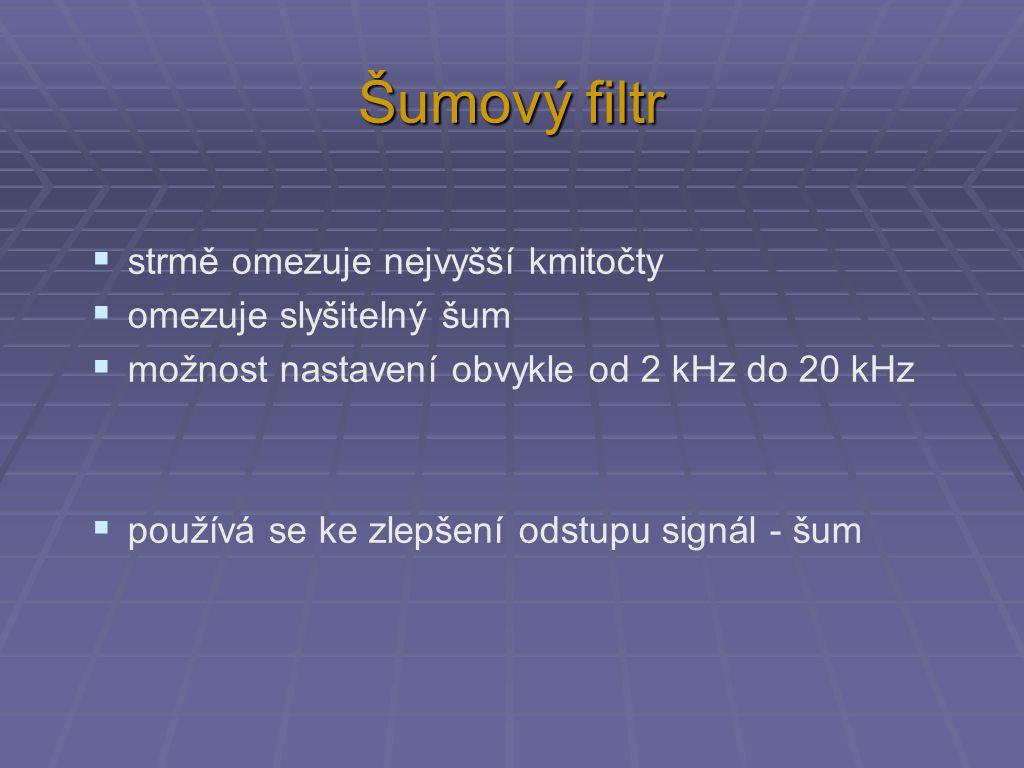 Šumový filtr  strmě omezuje nejvyšší kmitočty  omezuje slyšitelný šum  možnost nastavení obvykle od 2 kHz do 20 kHz  používá se ke zlepšení odstupu signál - šum