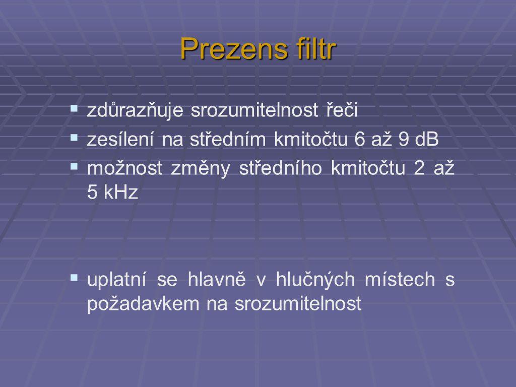 Prezens filtr  zdůrazňuje srozumitelnost řeči  zesílení na středním kmitočtu 6 až 9 dB  možnost změny středního kmitočtu 2 až 5 kHz  uplatní se hl