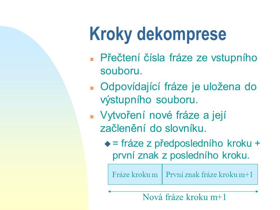 Kroky dekomprese n Přečtení čísla fráze ze vstupního souboru. n Odpovídající fráze je uložena do výstupního souboru. n Vytvoření nové fráze a její zač