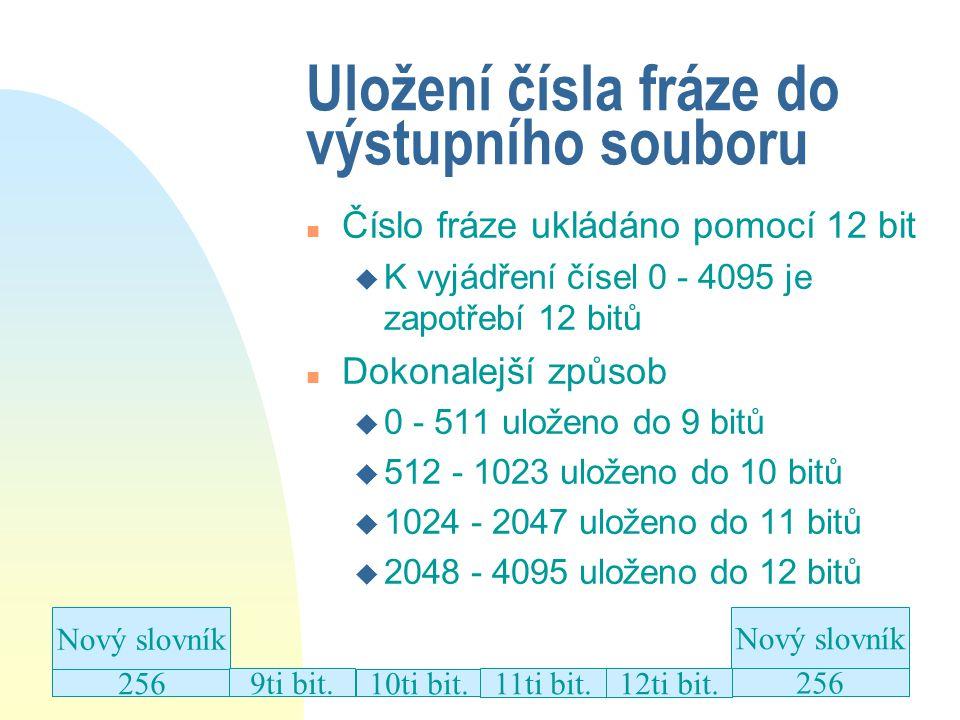 Uložení čísla fráze do výstupního souboru n Číslo fráze ukládáno pomocí 12 bit u K vyjádření čísel 0 - 4095 je zapotřebí 12 bitů n Dokonalejší způsob u 0 - 511 uloženo do 9 bitů u 512 - 1023 uloženo do 10 bitů u 1024 - 2047 uloženo do 11 bitů u 2048 - 4095 uloženo do 12 bitů Nový slovník 256 9ti bit.